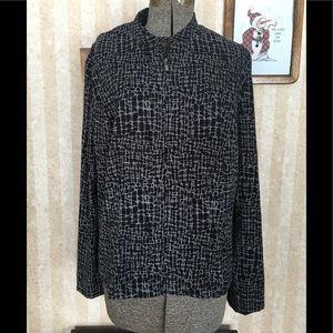 JM Collection black patterned zip front jacket.